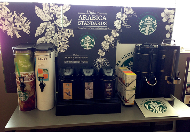 Hotel coffee service with Botanical Illustrations, Starbucks Coffee Company