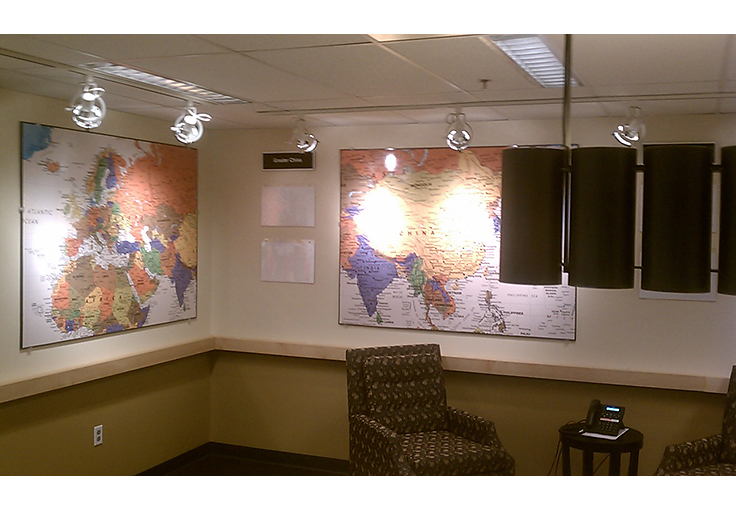 Lighting and interior design for International Map Room at Starbucks Corporate.
