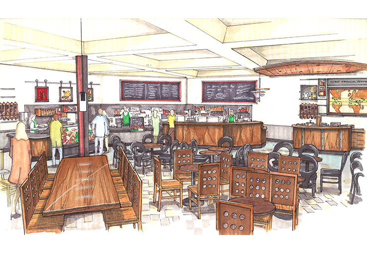 Development drawing for University Village Starbucks Café.