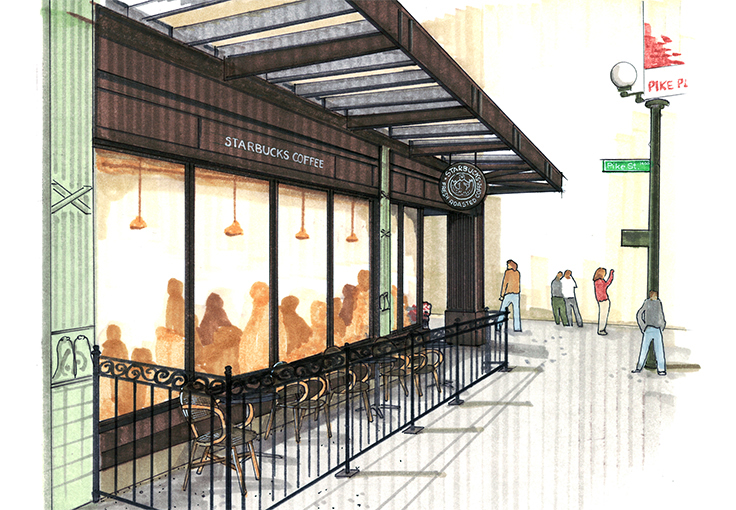 Development drawing for Pike Place Starbucks Café.
