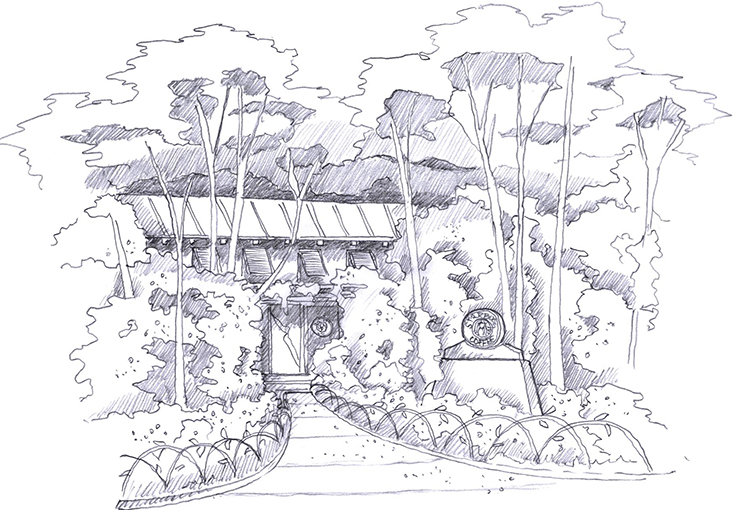 Development drawing for Disney World Starbucks Café.