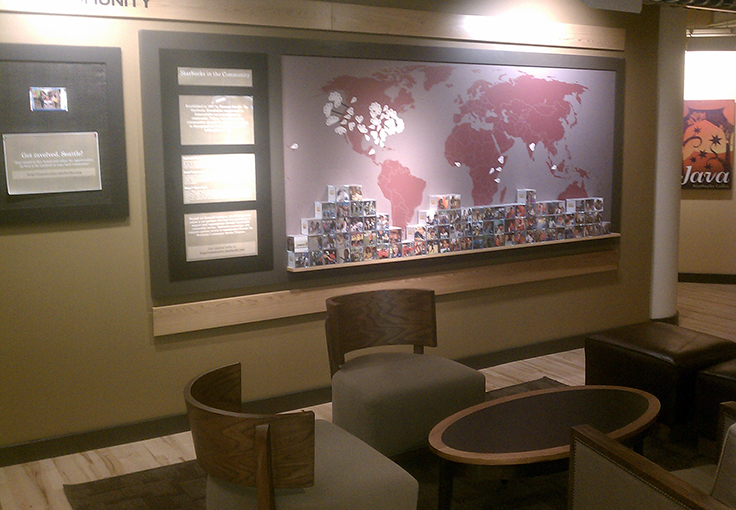 Community display for Starbucks Corporate Facility.